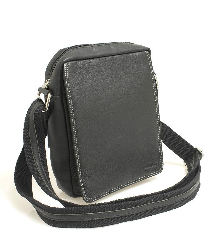 Černá kožená pánská taška přes rameno 52005