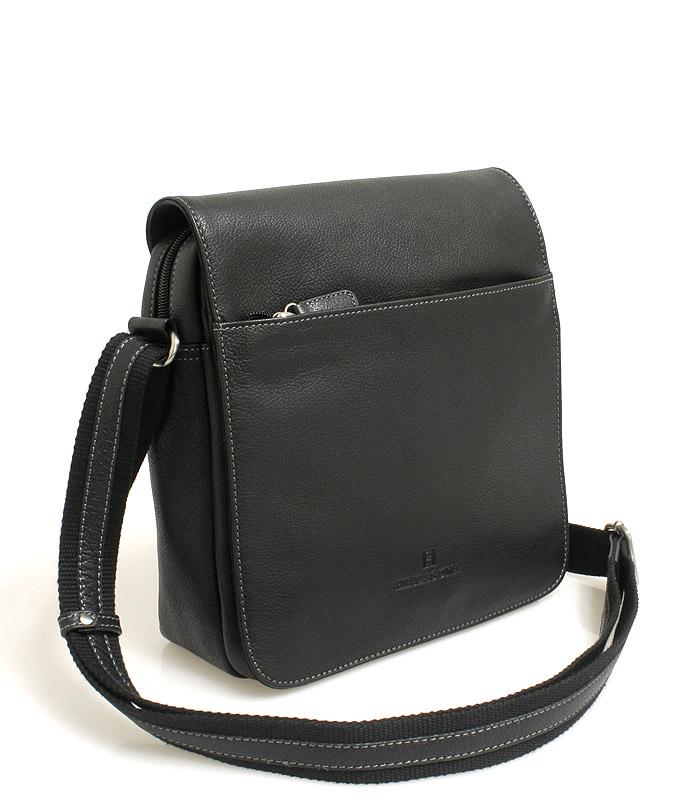 Černá středně velká kožená taška Hexagona 462547