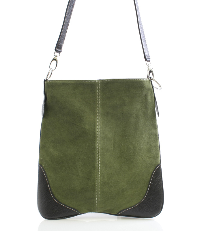 Lahvově zelená kožená crossbody kabelka ItalY 10062