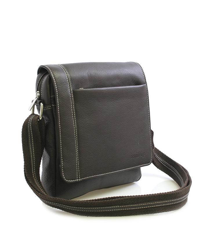 Tmavě-hnědá luxusní kožená taška IG702