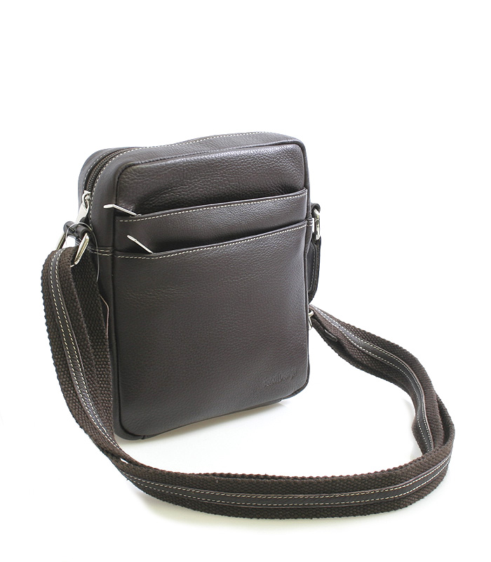 Tmavě-hnědá luxusní kožená taška IG710