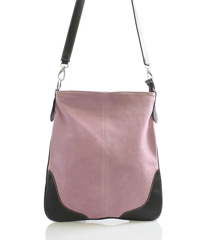 Staro růžová kožená crossbody kabelka ItalY 10062