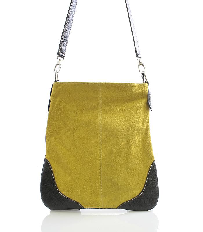 Žlutá kožená crossbody kabelka ItalY 10062