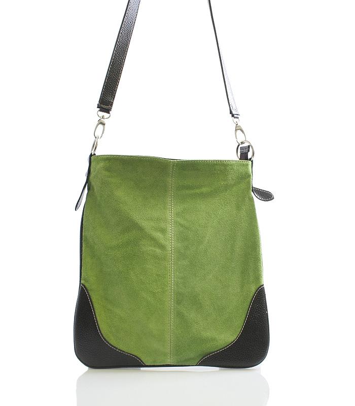 Zelená kožená crossbody kabelka ItalY 10062
