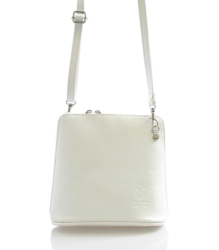 Bílá dámská kožená kabelka crossbody 10053