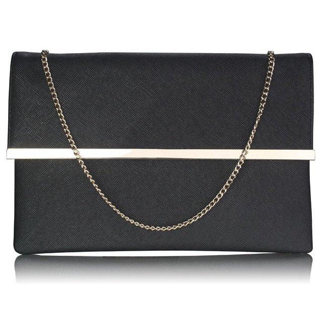 Luxusní černé listové psaníčko LS Fashion 0279