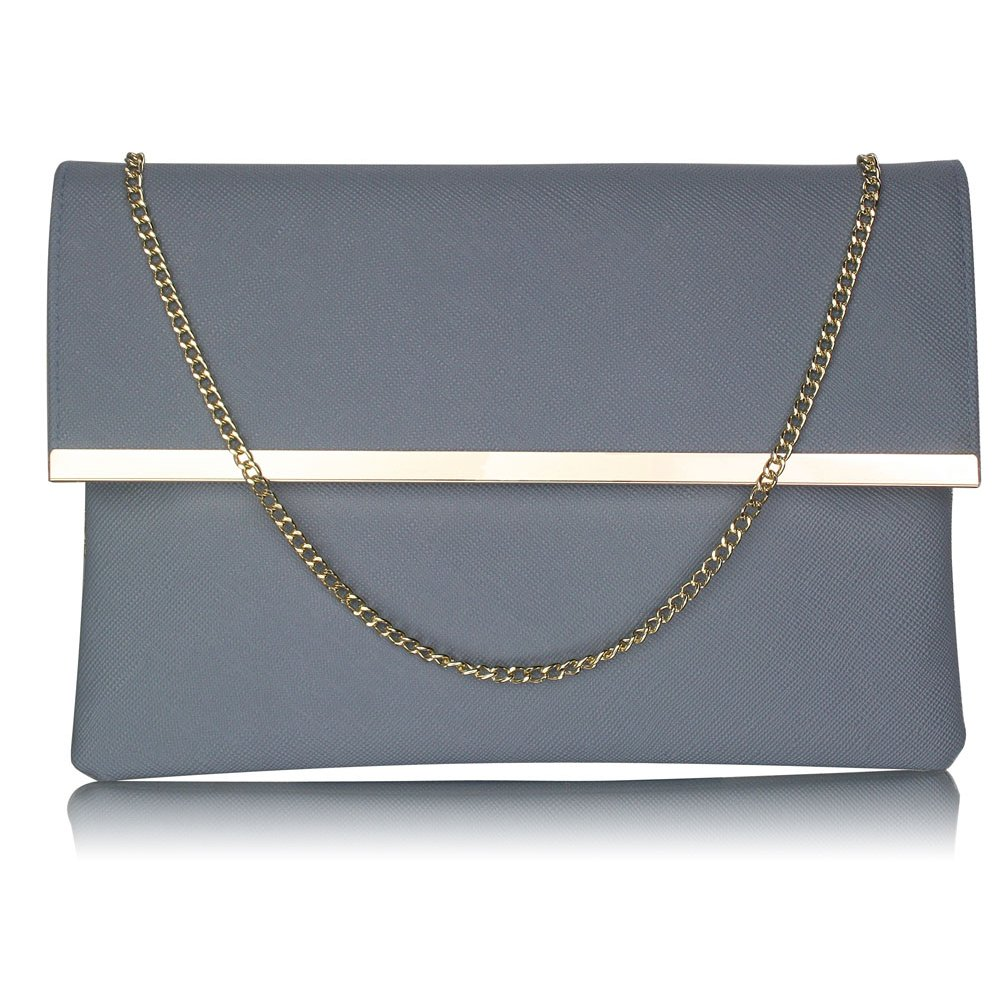 Luxusní šedé listové psaníčko LS Fashion 0279