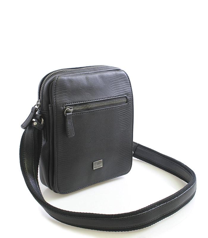 Černá pánská kožená taška přes rameno Hexagona 54019