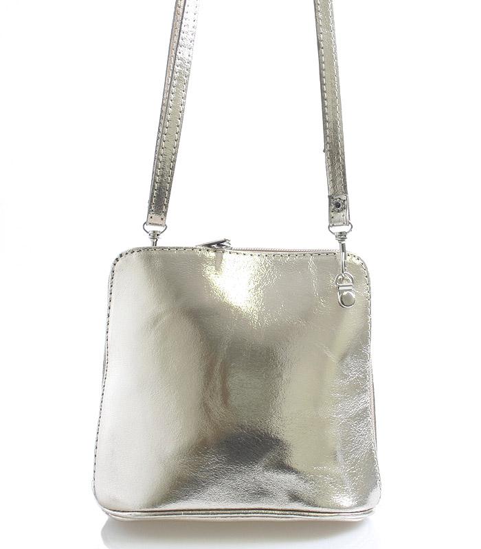 Zlatá dámská kožená kabelka crossbody 10053