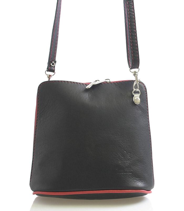 Černo-červená dámská kožená kabelka crossbody 10053