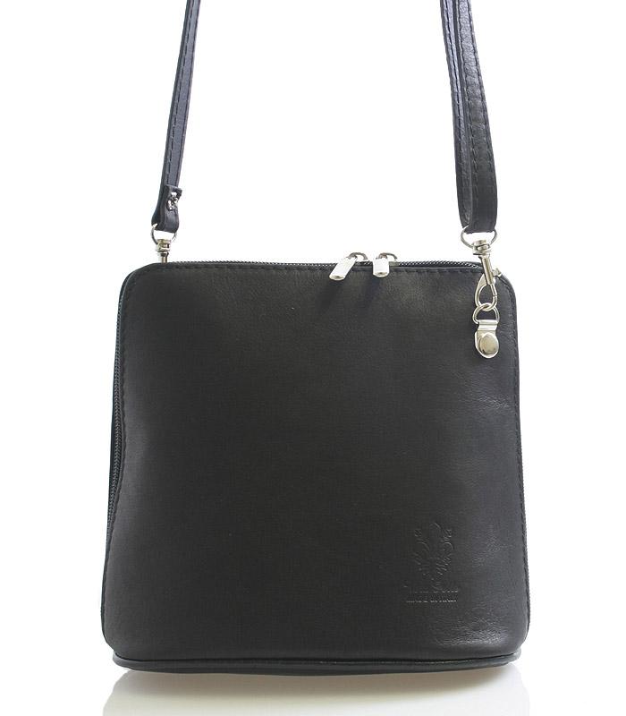 Dámská kabelka černá kožená crossbody 10053