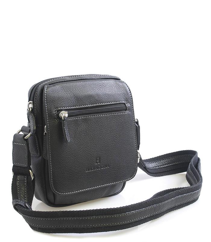 Luxusní černá kožená taška přes rameno Hexagona Xman