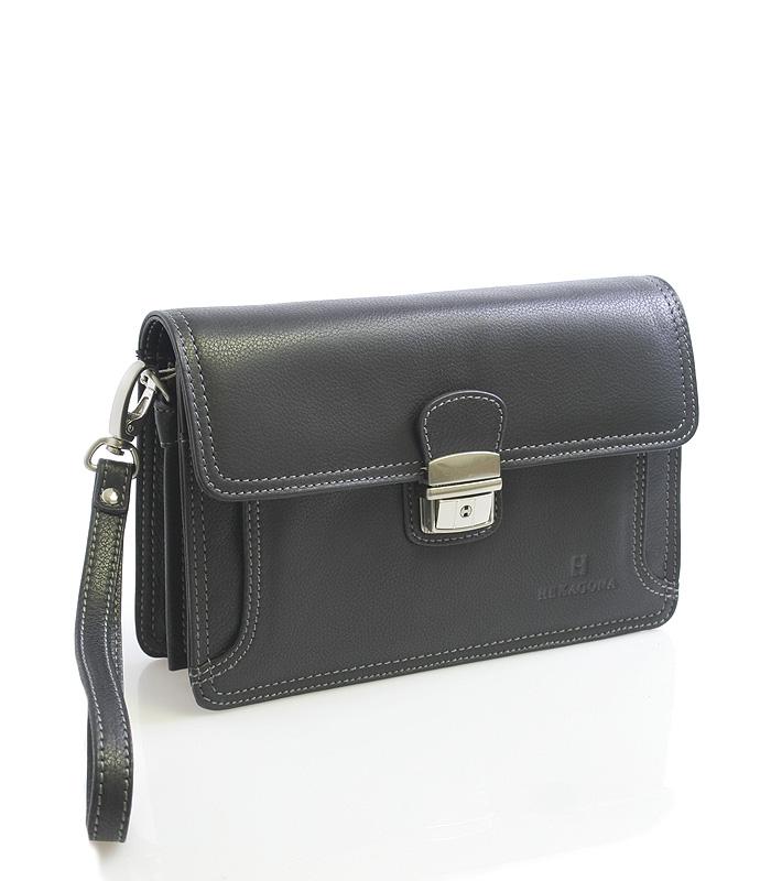 Pánské černé luxusní kožené etue Hexagona 69376