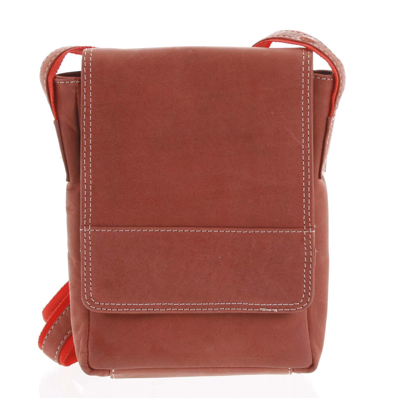 Kožená pánská crossbody taška na doklady červená broušená 0213
