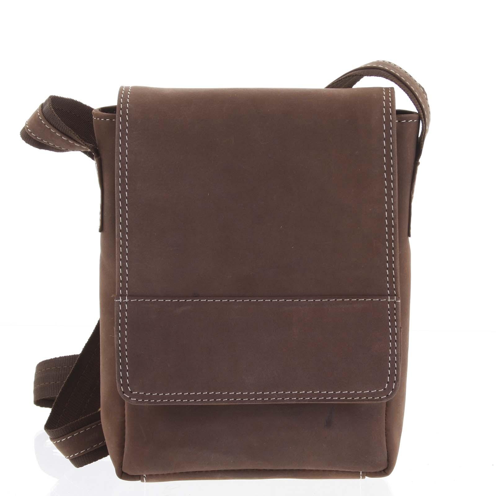 Kožená pánská crossbody taška na doklady hnědá broušená 0213