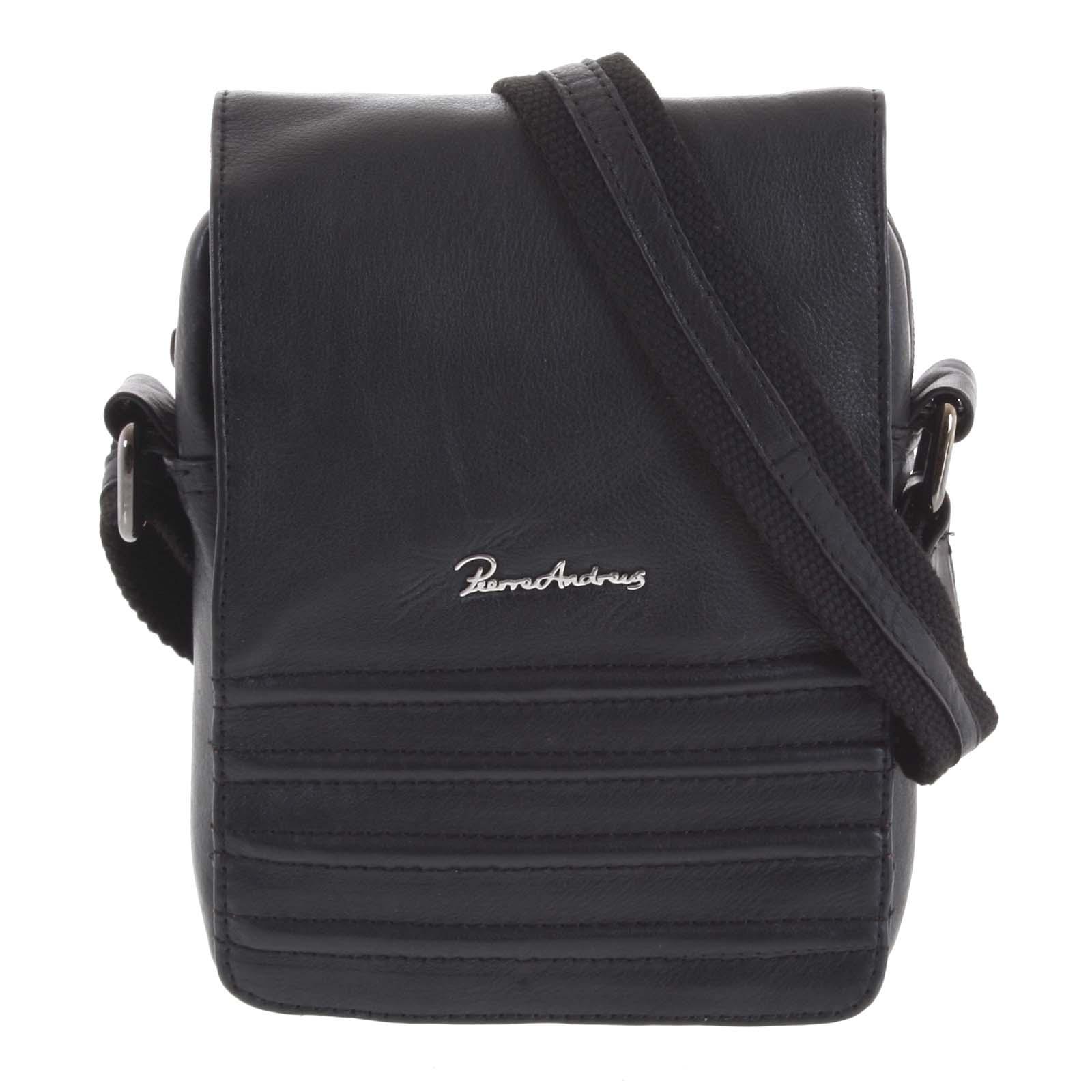 Černá pánská elegantní kožená taška - Pierre Andreus Peren