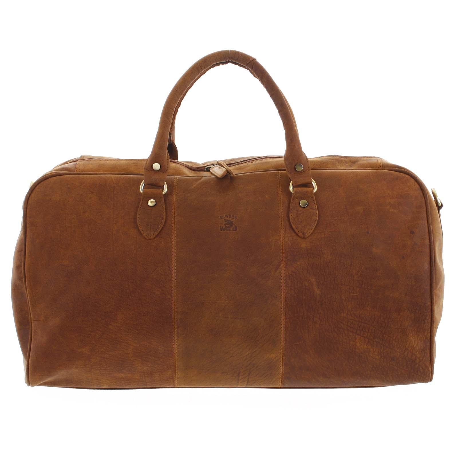 Velká cestovní kožená taška světle hnědá - WILD Aurimas