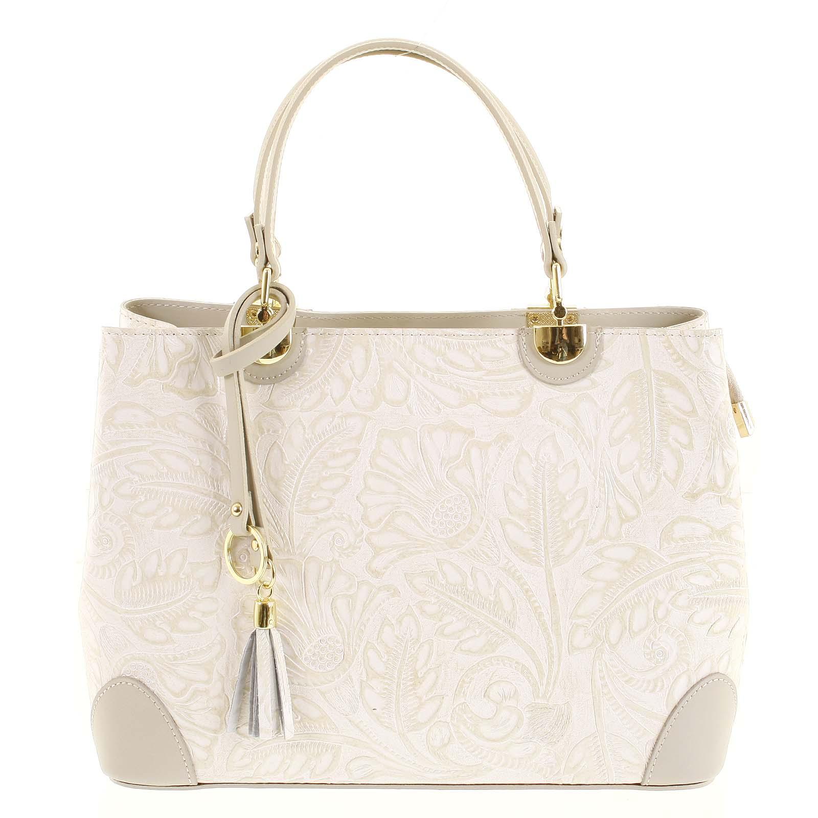 Originální dámská kožená kabelka šedo béžová - ItalY Mattie