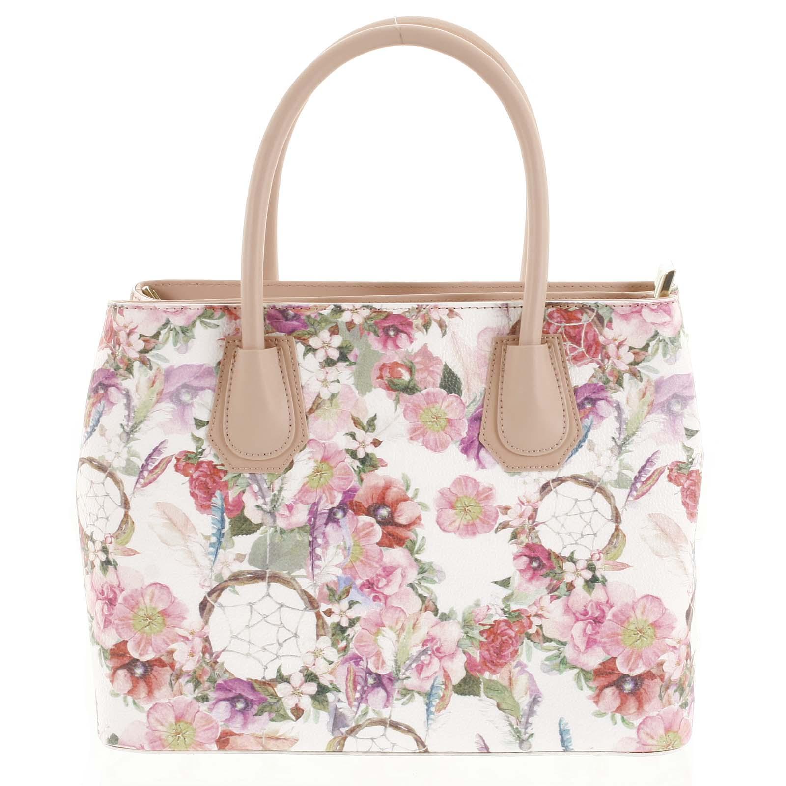 Originální dámská kožená kabelka růžová - ItalY Mattie Flower
