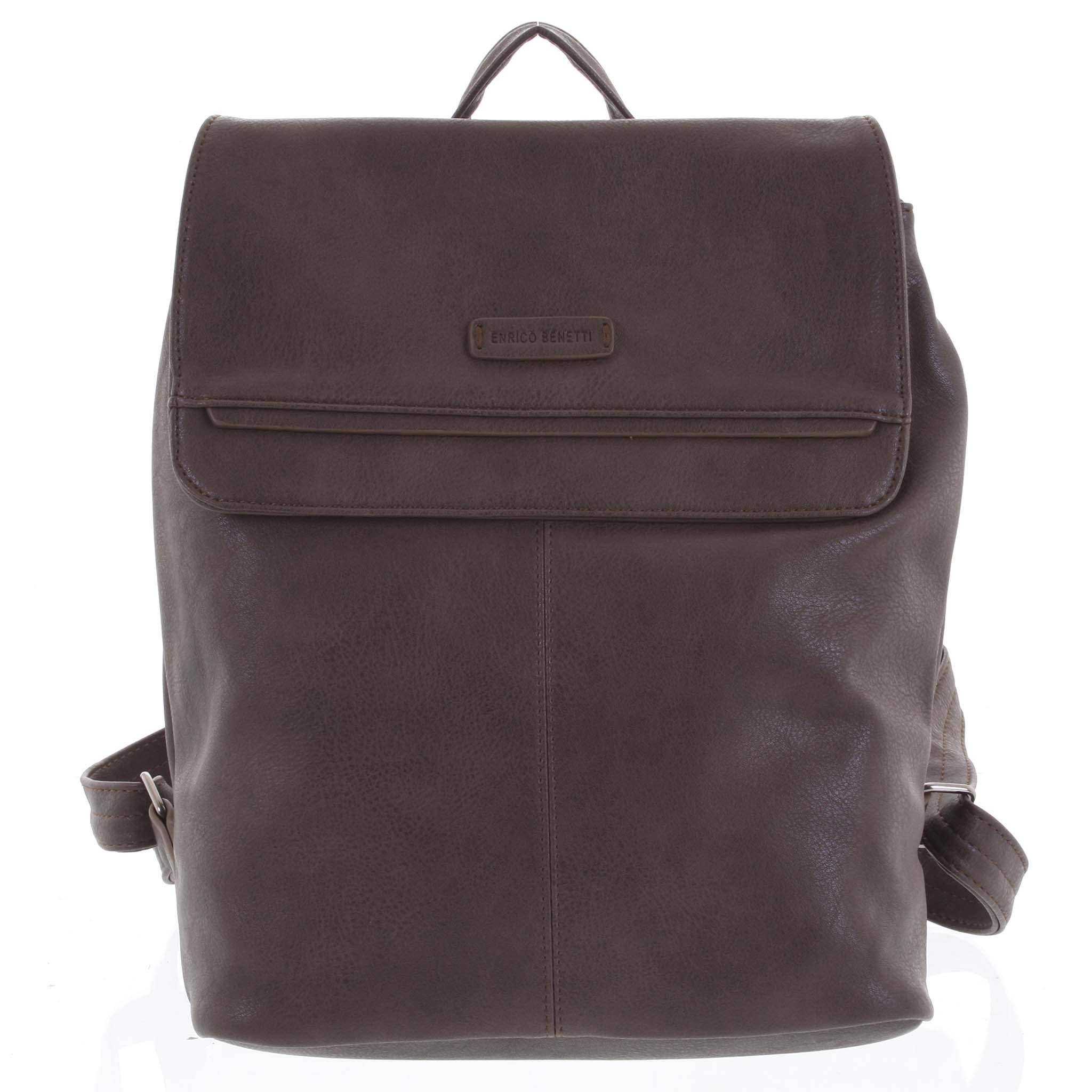 Dámský stylový batoh tmavě hnědý - Enrico Benetti Neneke