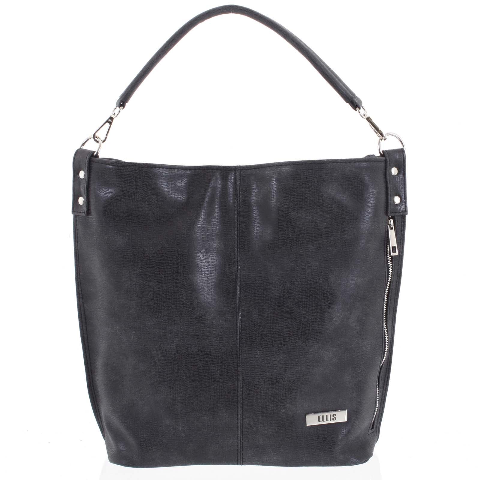 Elegantní dámská kabelka přes rameno tmavě šedá se vzorem - Ellis Negina