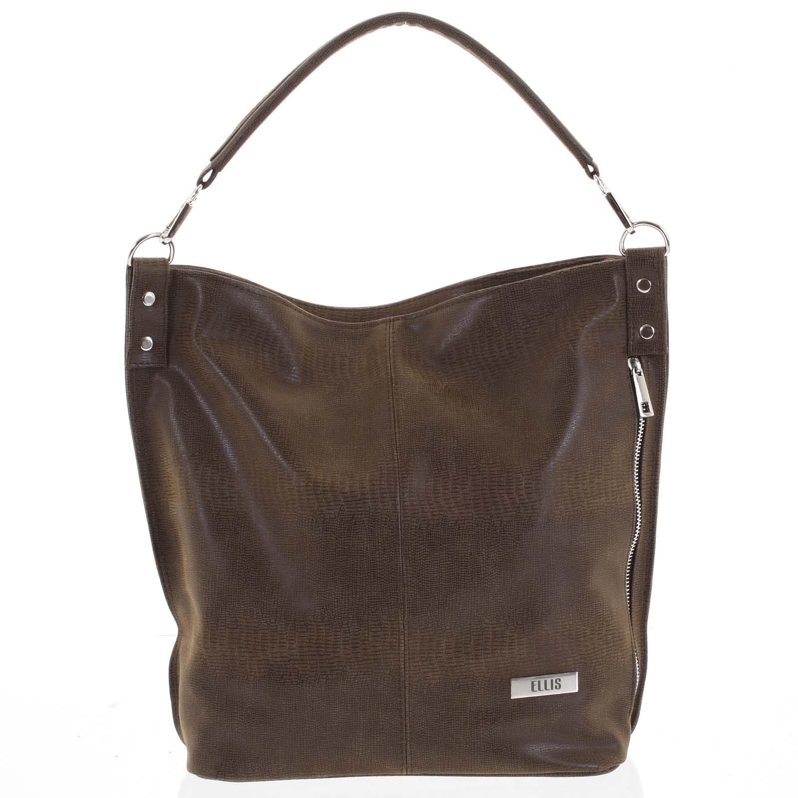 Elegantní dámská kabelka přes rameno hnědá se vzorem - Ellis Negina