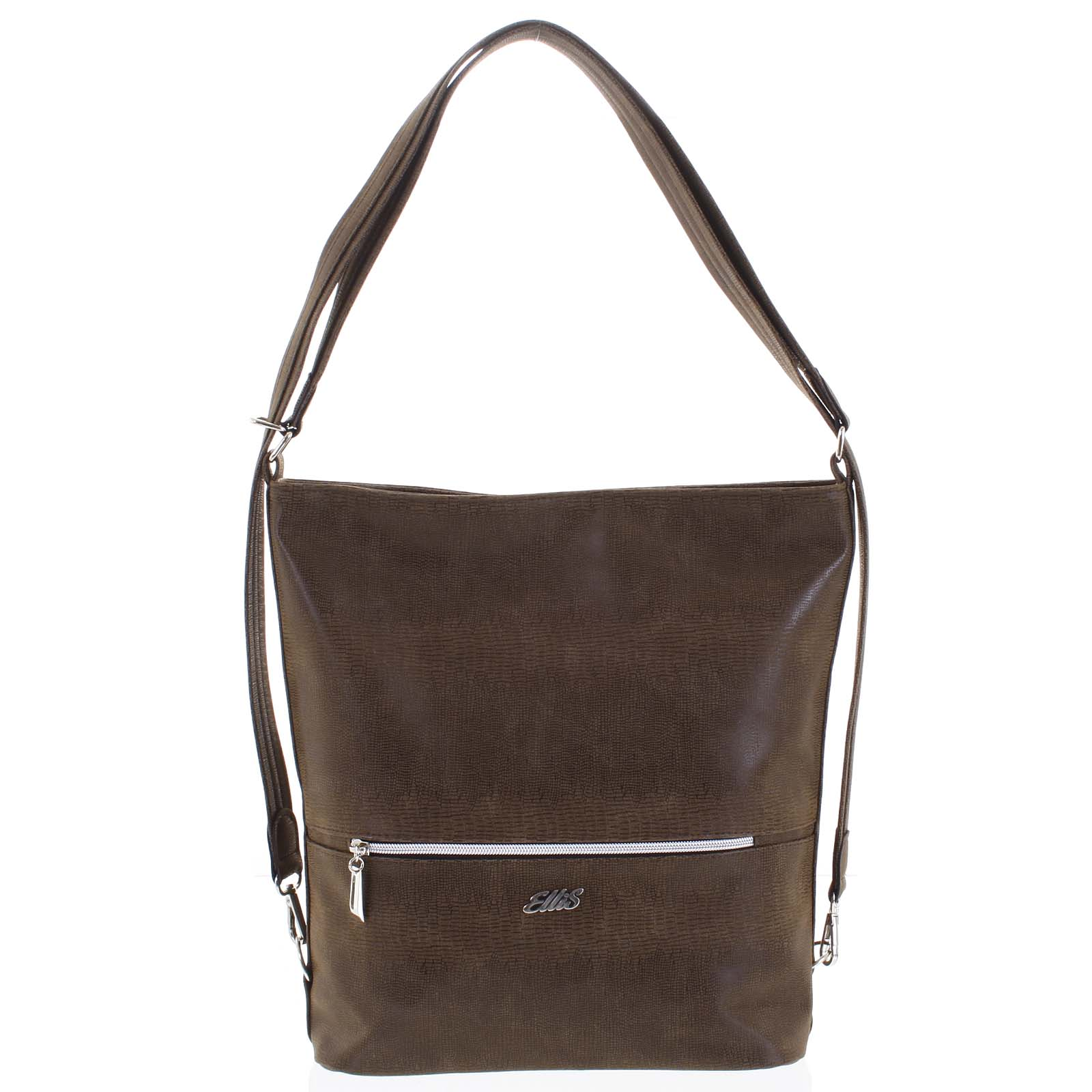 Módní dámská kabelka batoh hnědá se vzorem - Ellis Patrik