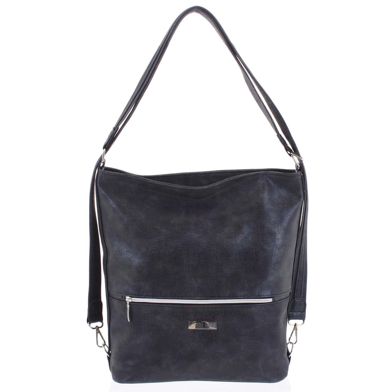 Módní dámská kabelka batoh tmavě šedá se vzorem - Ellis Patrik