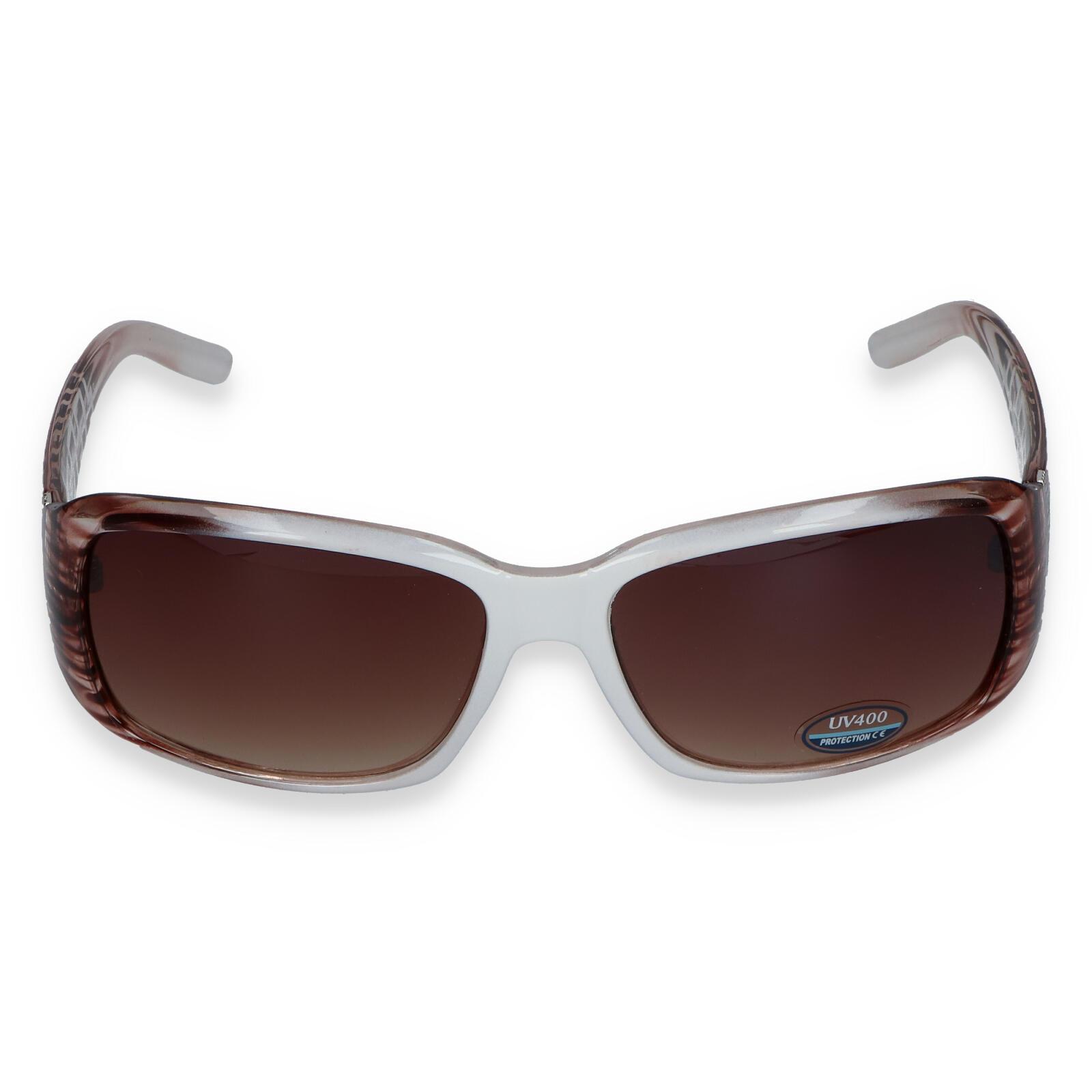 Dámské sluneční brýle bílo hnědé - SM08