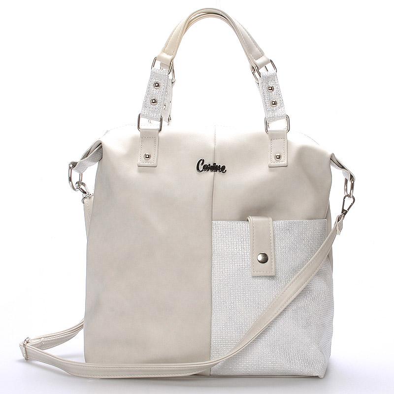 Velká dámská módní kabelka světle šedá - Carine Christi