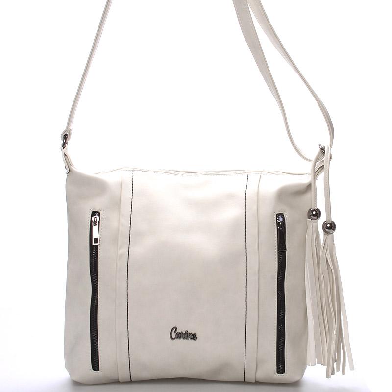 Dámská luxusní crossbody kabelka světle šedá - Carine Daly
