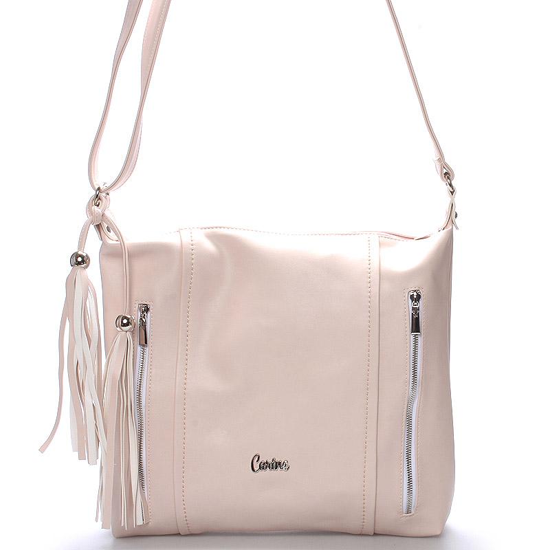 Dámská luxusní crossbody kabelka růžová - Carine Daly