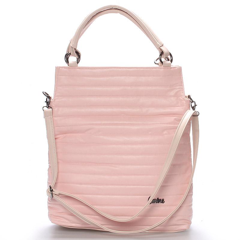 Velká moderní růžová dámská kabelka - Carine Madison