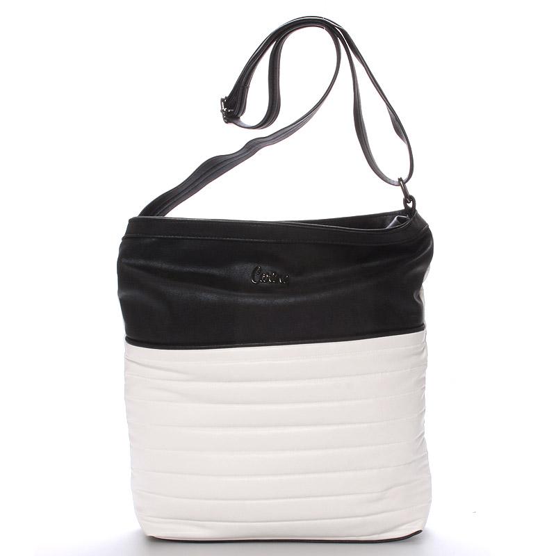 Velká pohodlná crossbody kabelka bíločerná - Carine High