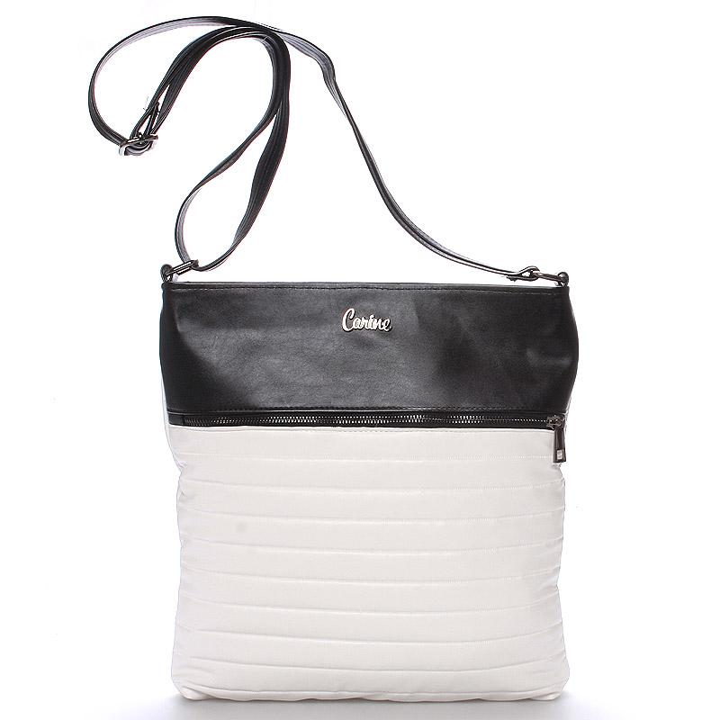 Velká pohodlná crossbody kabelka bíločerná - Carine PalmBay