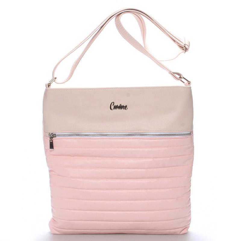 Velká pohodlná crossbody kabelka růžová - Carine PalmBay