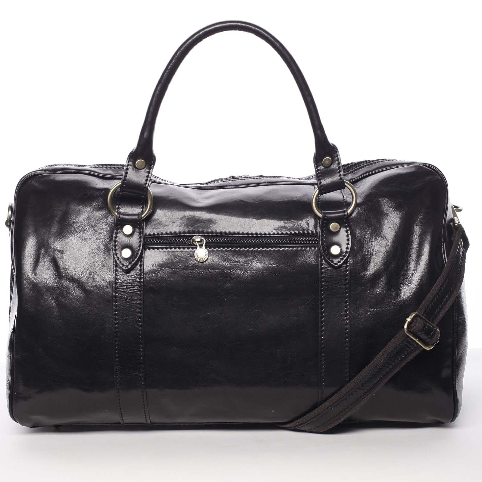 Velká cestovní kožená taška černá - ItalY Equado
