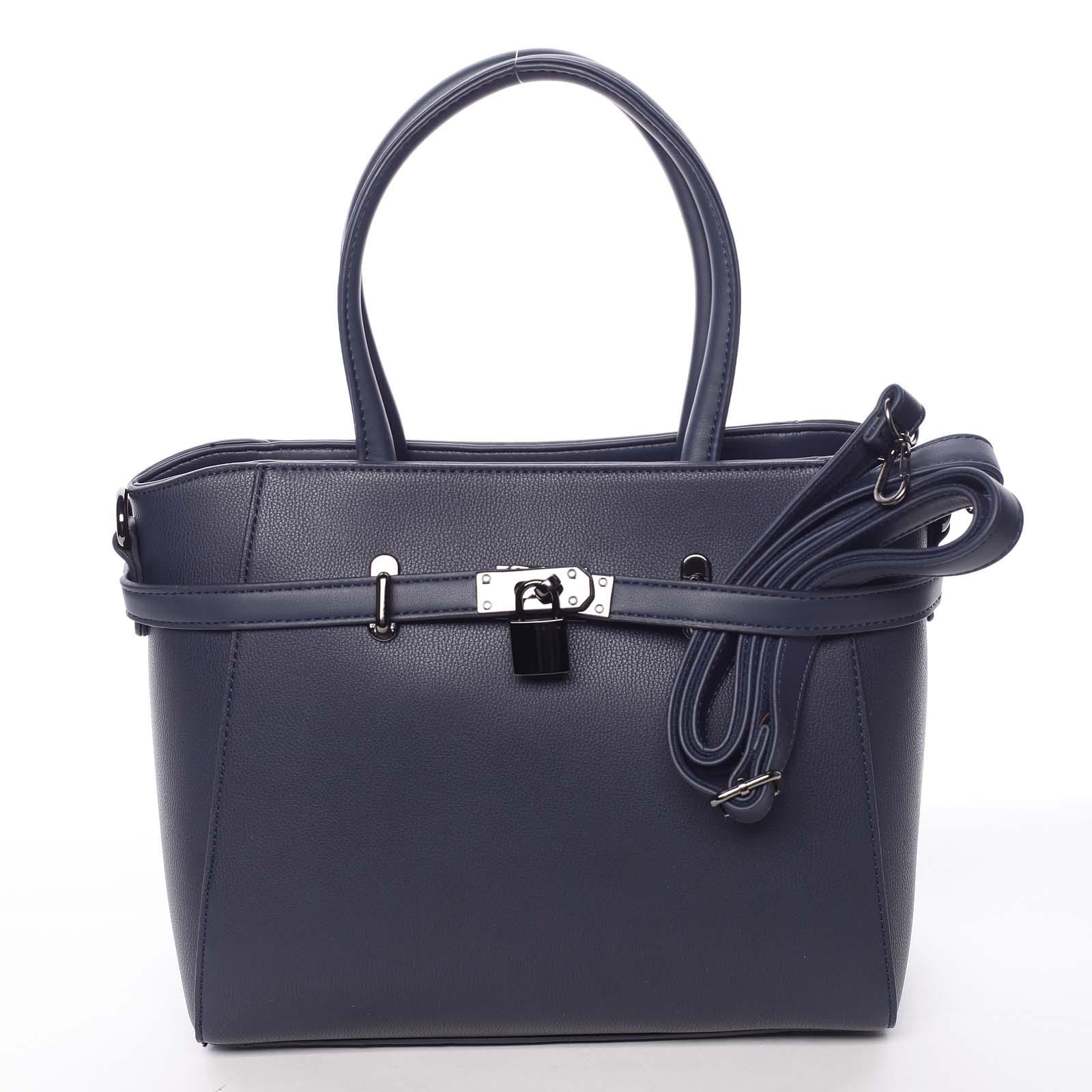 Luxusní stylová menší tmavě modrá kabelka do ruky - David Jones Haless