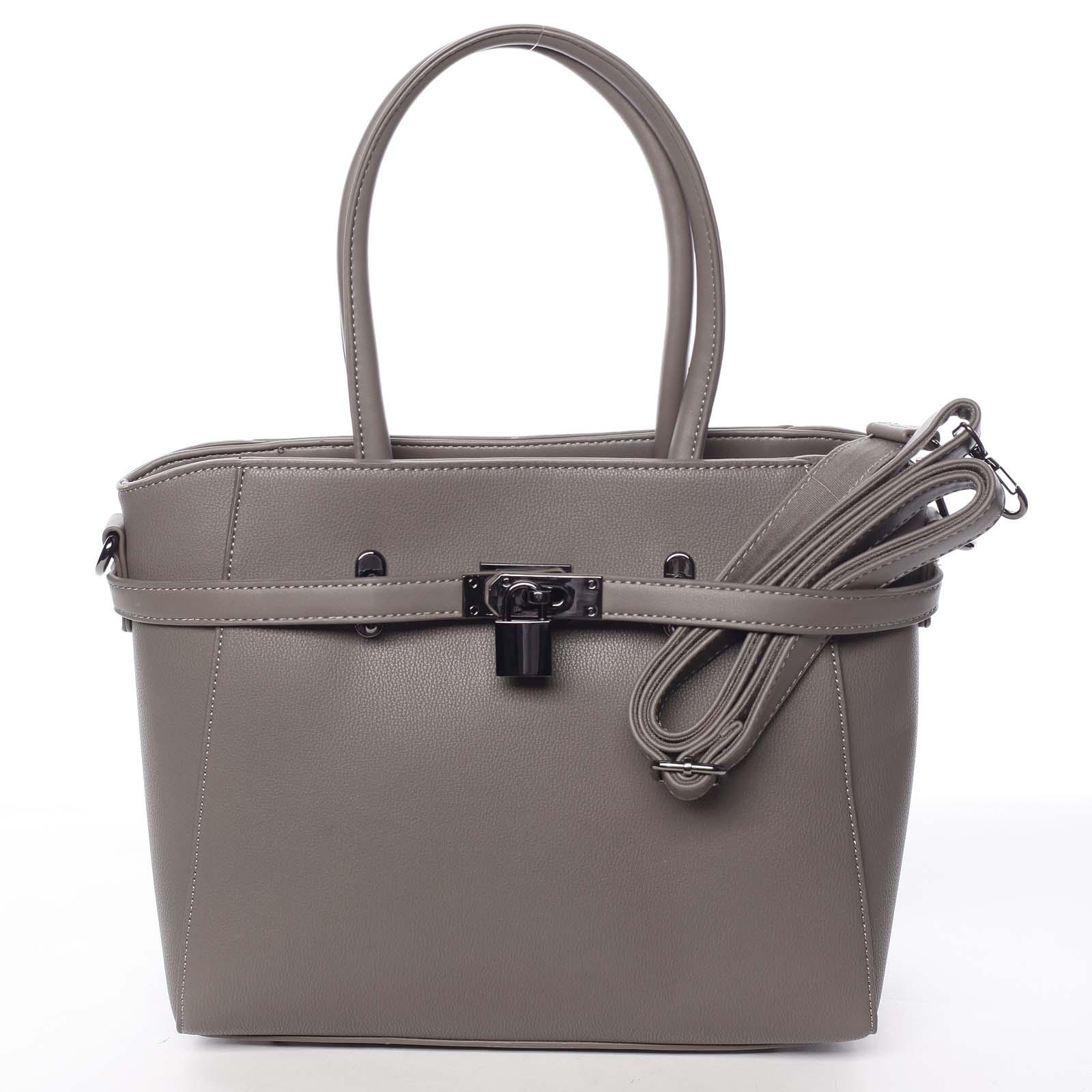 Luxusní stylová menší tmavá taupe kabelka do ruky - David Jones Haless