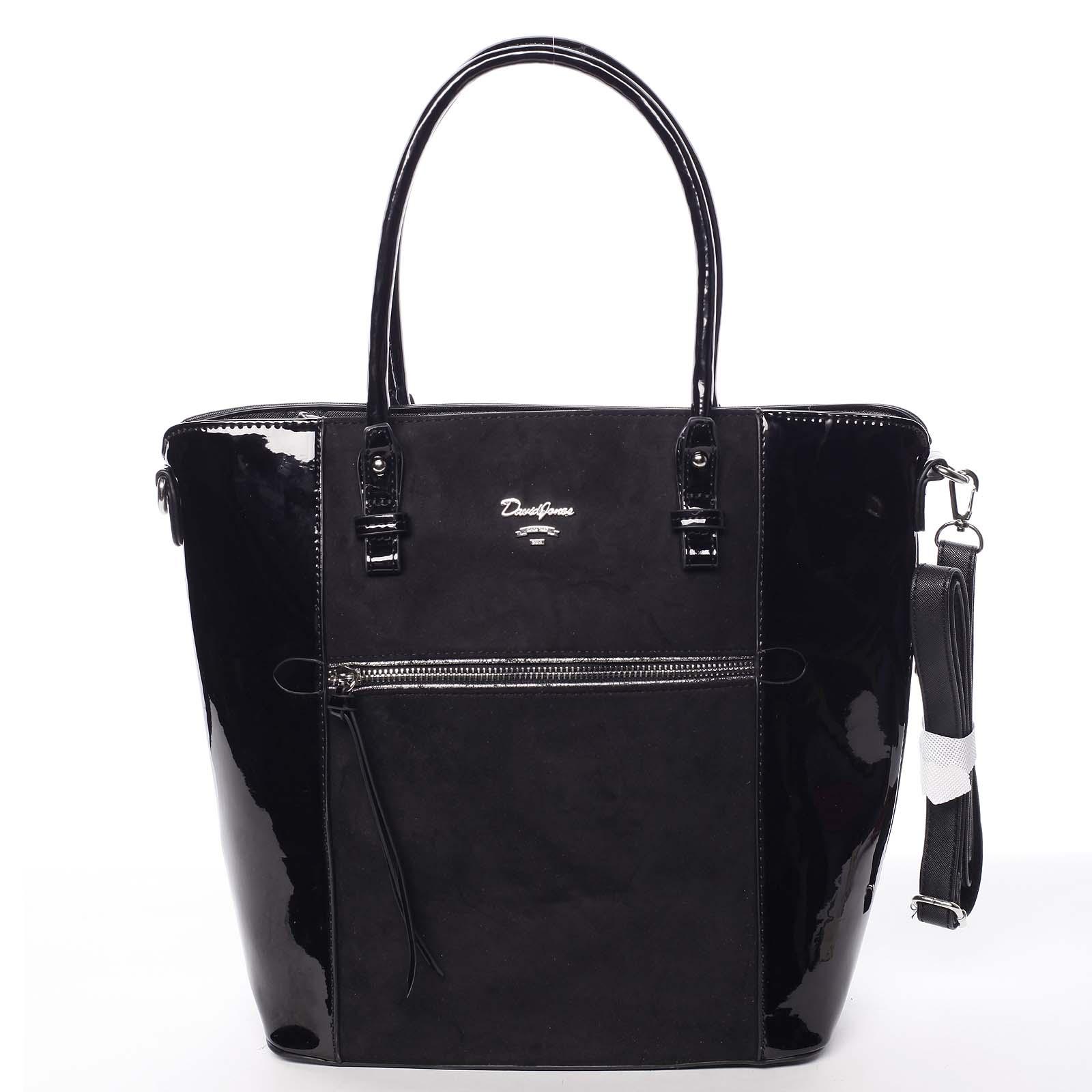 Velká černá luxusní pololakovaná kabelka přes rameno - David Jones Rayly