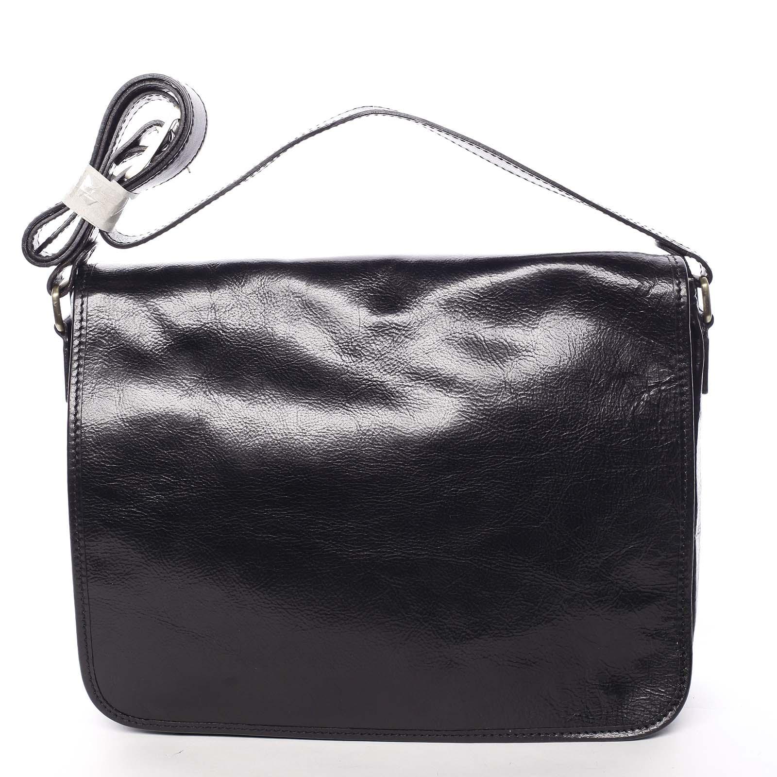 Větší pracovní kožená taška černá - ItalY Equado Achilles