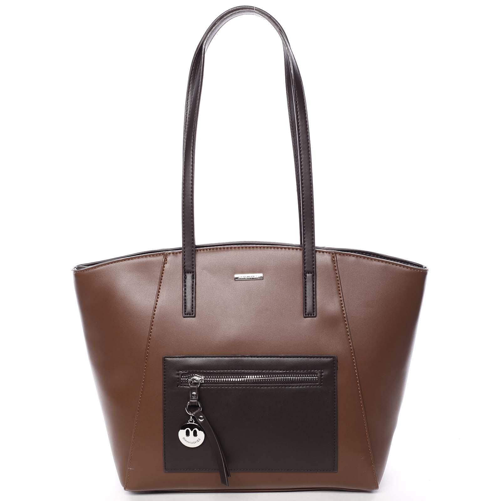 Moderní dámská kabelka přes rameno hnědá - David Jones Adria