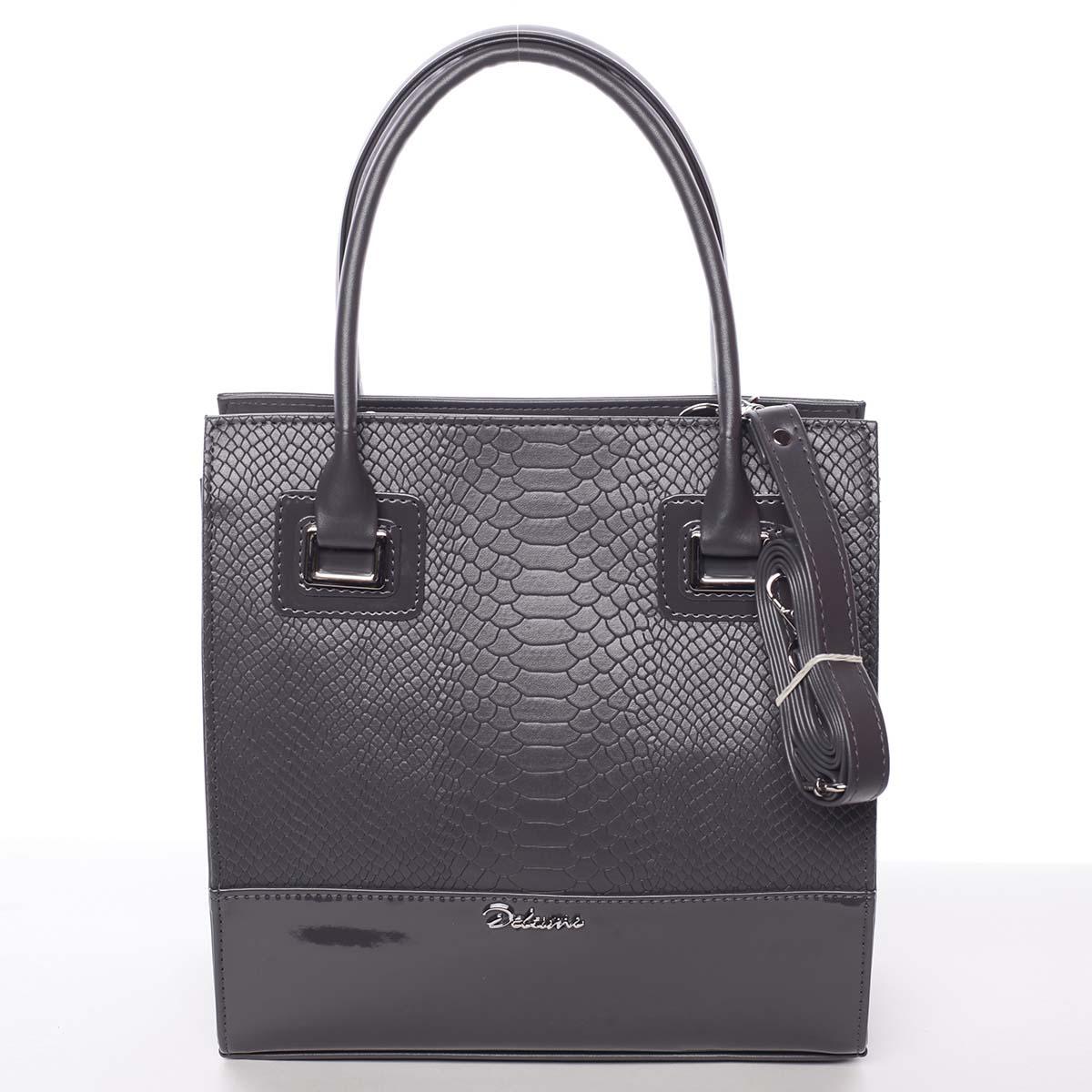 Dámská luxusní lakovaná kabelka tmavě šedá se vzorem - Delami Claudine