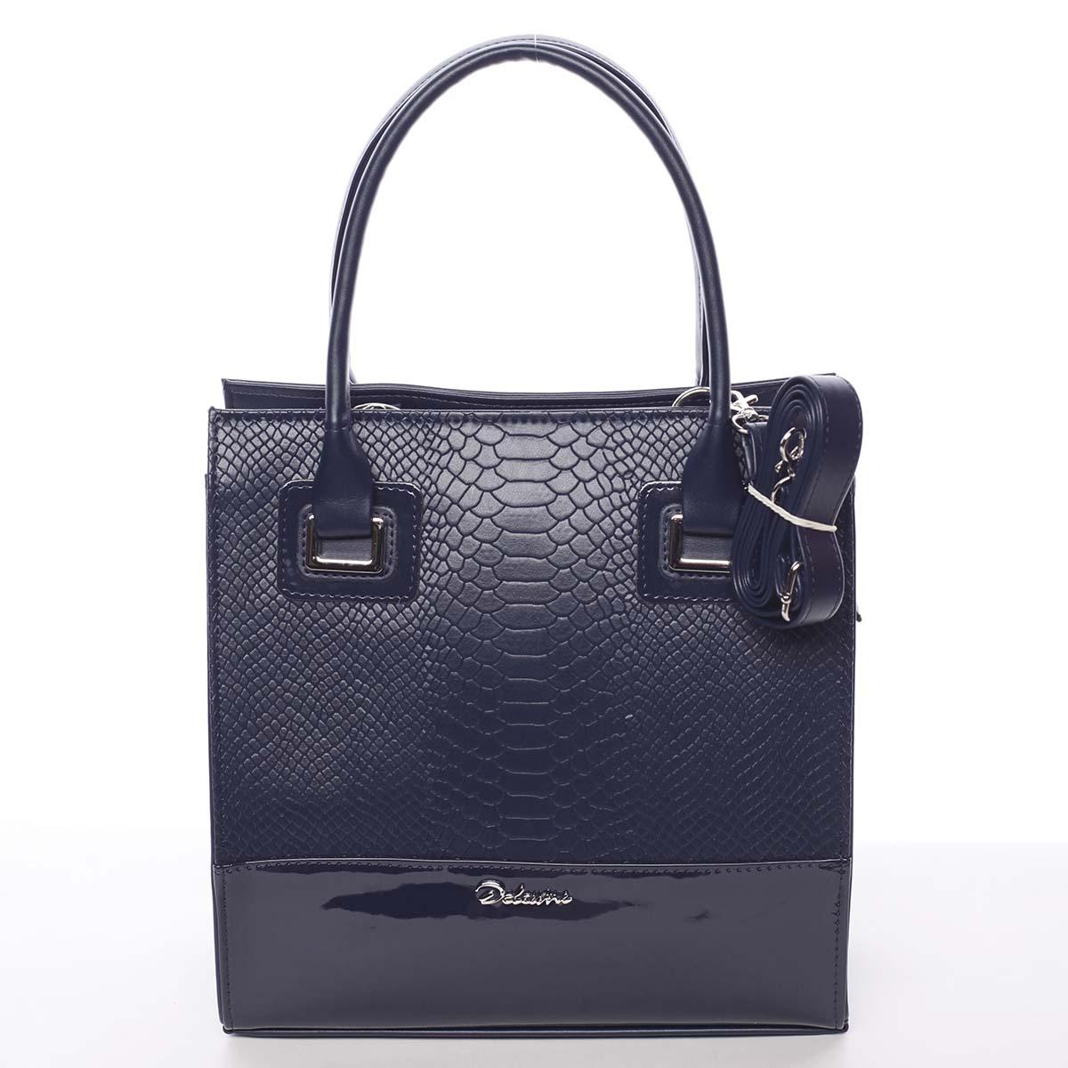 Dámská luxusní lakovaná kabelka tmavě modrá se vzorem - Delami Claudine