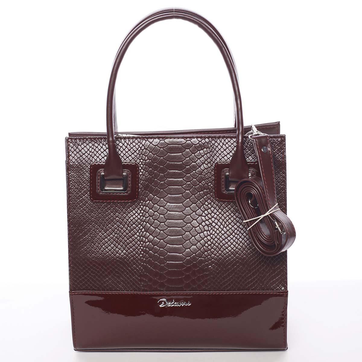 Dámská luxusní lakovaná kabelka vínová se vzorem - Delami Claudine