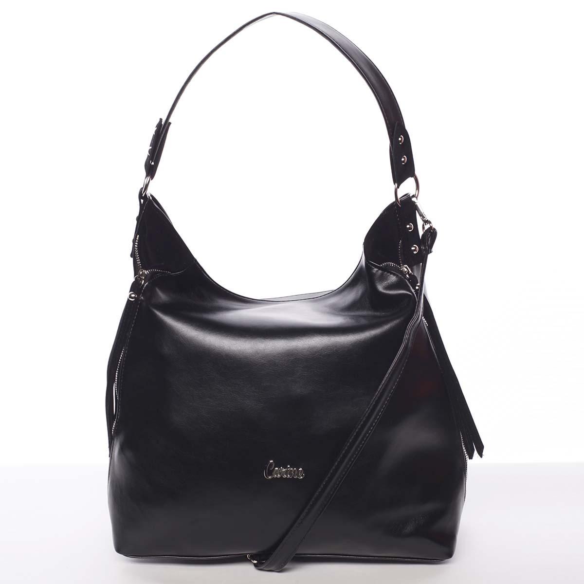 Exkluzivní velká měkká černá kabelka - Carine Tamika