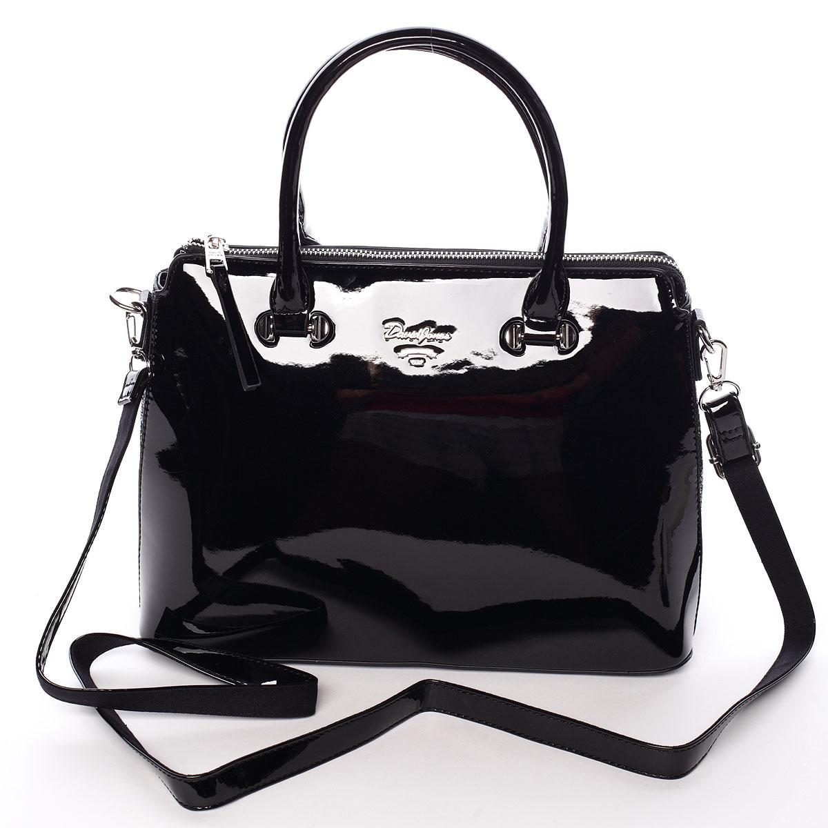Elegantní lakovaná černá dámská kabelka - David Jones Belen