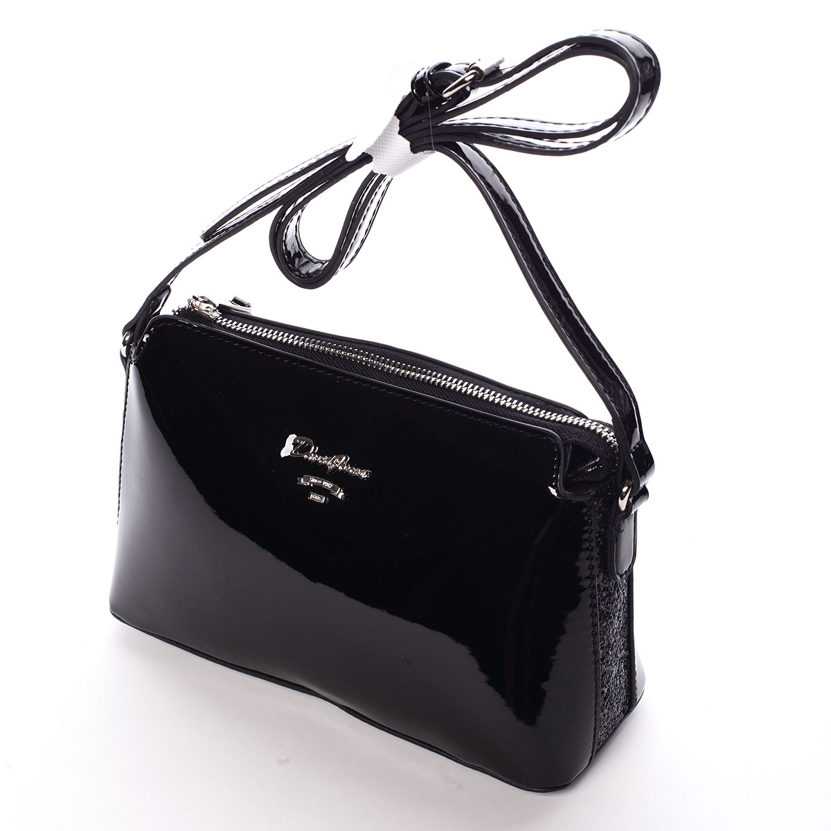 Luxusní dámská lakovaná crossbody kabelka s glitterem černá - David Jones Petrina