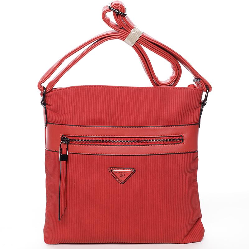 Trendy vroubkovaná crossbody kabelka červená - Delami Raelyn