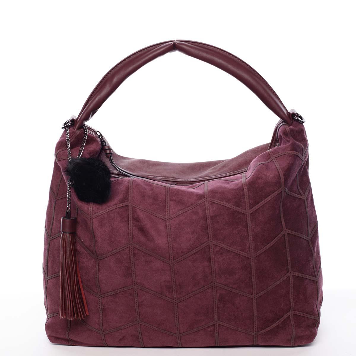 Trendy dámská velká vzorovaná kabelka červená - MARIA C Chana